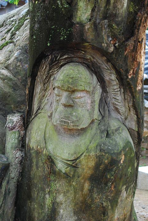 Wood, Sculpture, Dharma, Mountain, Section, Buddhism