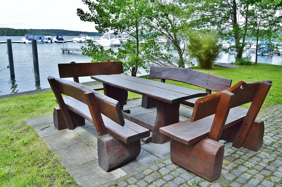 Seat Combination, Wood, Rustic, Table, Benches