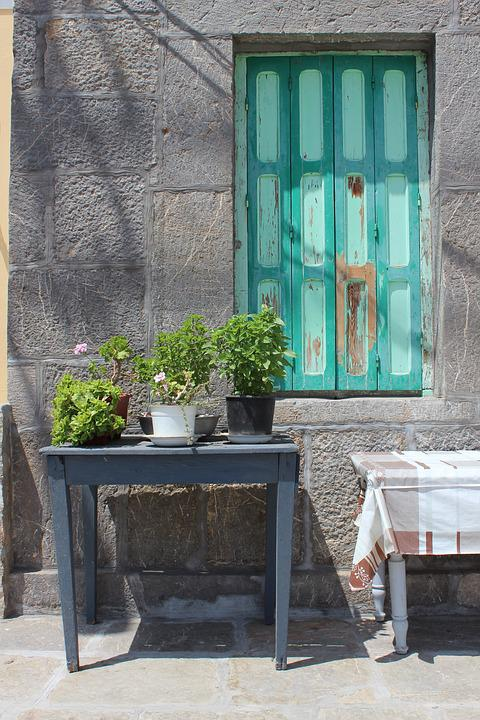 Shutters Table Shadows Plants Wooden Wood