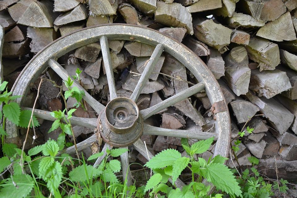 Wagon Wheel, Wheel, Antique, Wood, Holzstapel