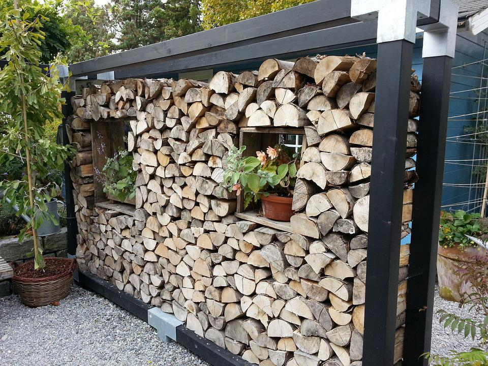 Holzstapel, Wood Wall, Partition Wall, Cottage, Park