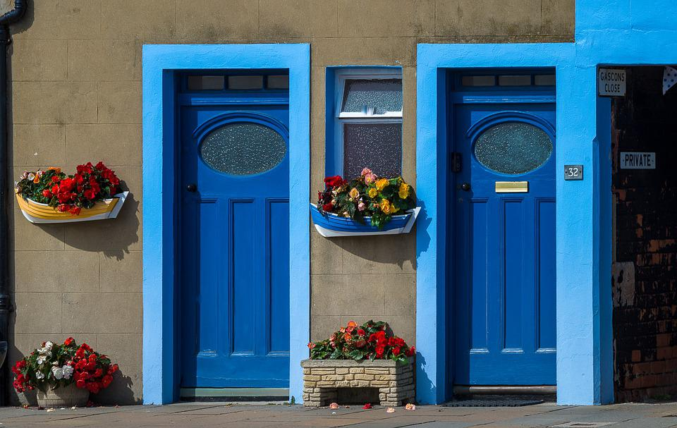 Doors, Blue, House, Architecture, Input, Wood, Welcome