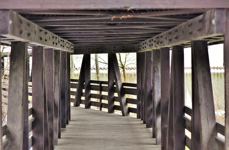 Bridge, Wooden Bridge, Transition, Crossing, Wood, Old
