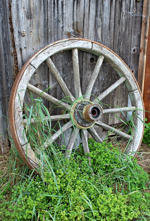 Old Wagon Wheel, Wooden Wheel, Wood, Nostalgia