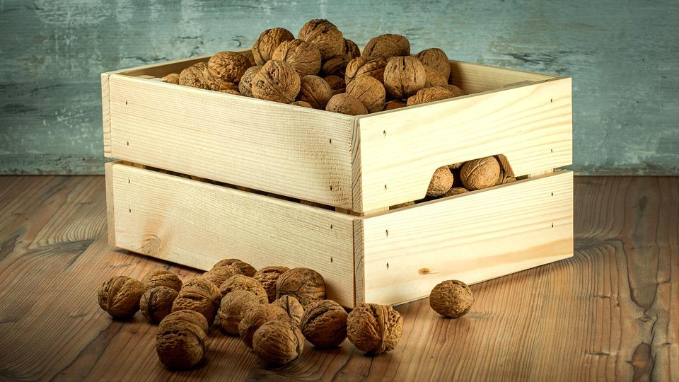 Nuts, Crop, Wooden, Crate, Collection, Background