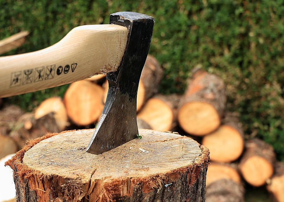 Axe, Wooden Block, Wood Chop, Firewood, Wood