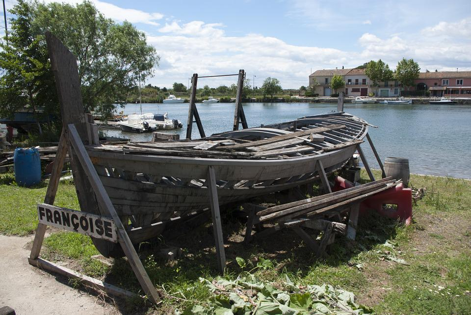 Wooden Boat, Dilapidated Boat, Boat