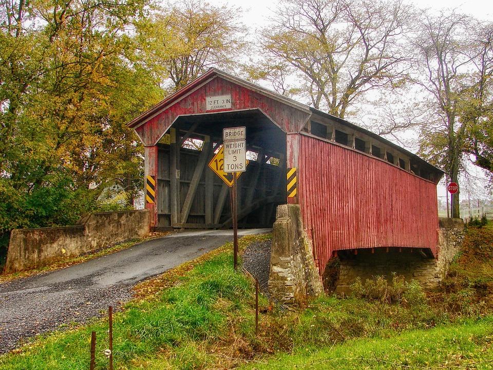 Wooden Bridge, Landscape, Scenic, Pennsylvania, Hdr