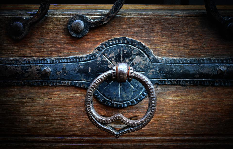Doorknocker, Door, Door Handle, Thumper, Wooden Door