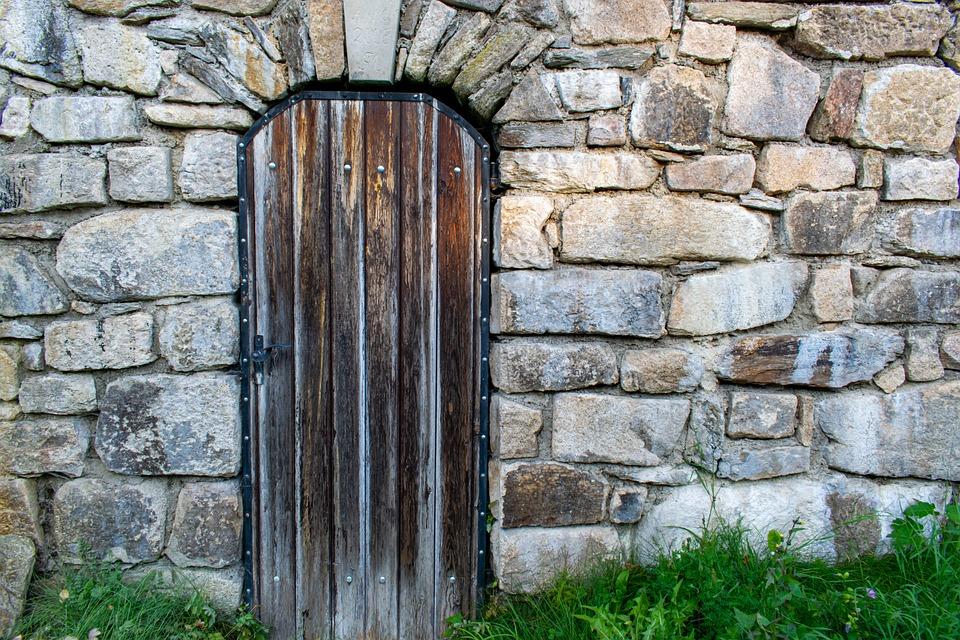 Wooden Door, Stone Wall, Door, Wall, Wood, Stone, Gate
