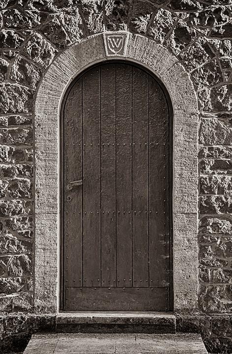 Goal, Door, Wooden Door, Wooden Gate, Stone Wall