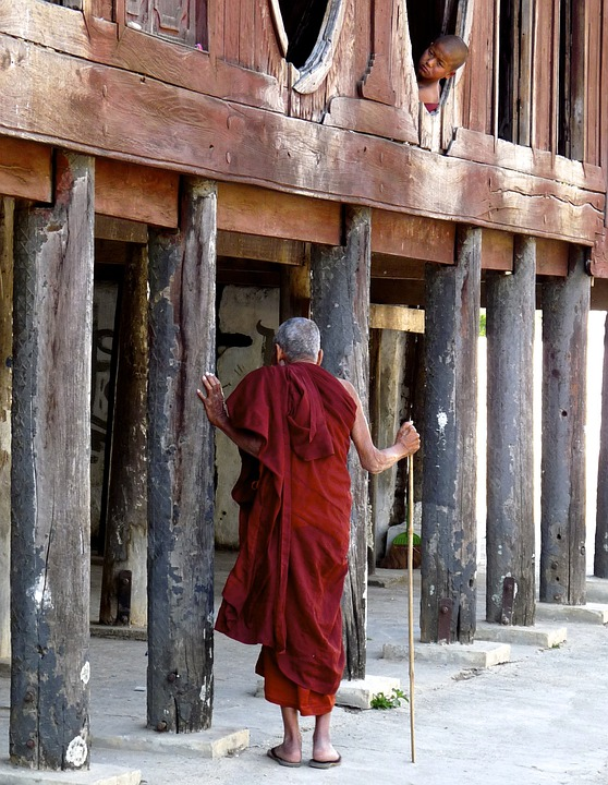 Temple, Structure, Wooden, Buddhist, Exterior, Monk