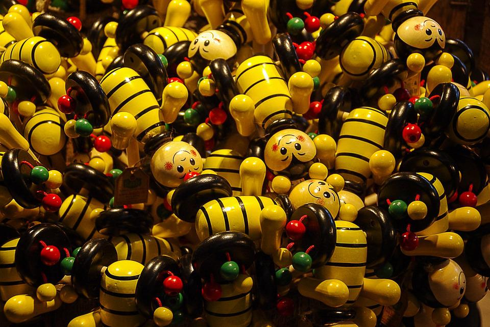 Wooden Figures, Bees, Funny, Toys, Colorful