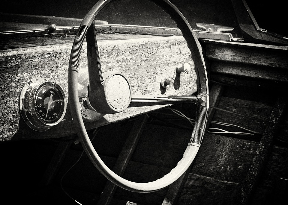 Old Boat, Wooden, Steering Wheel, Cruisers, Speedboat