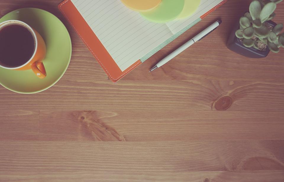 Coffee, Notebook, Wooden, Background, Orange, Work