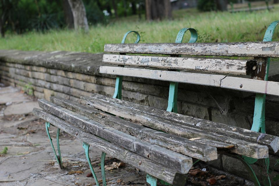 Bench, Old, Broken, Dirty, Wooden, Tree, Metal, Paint