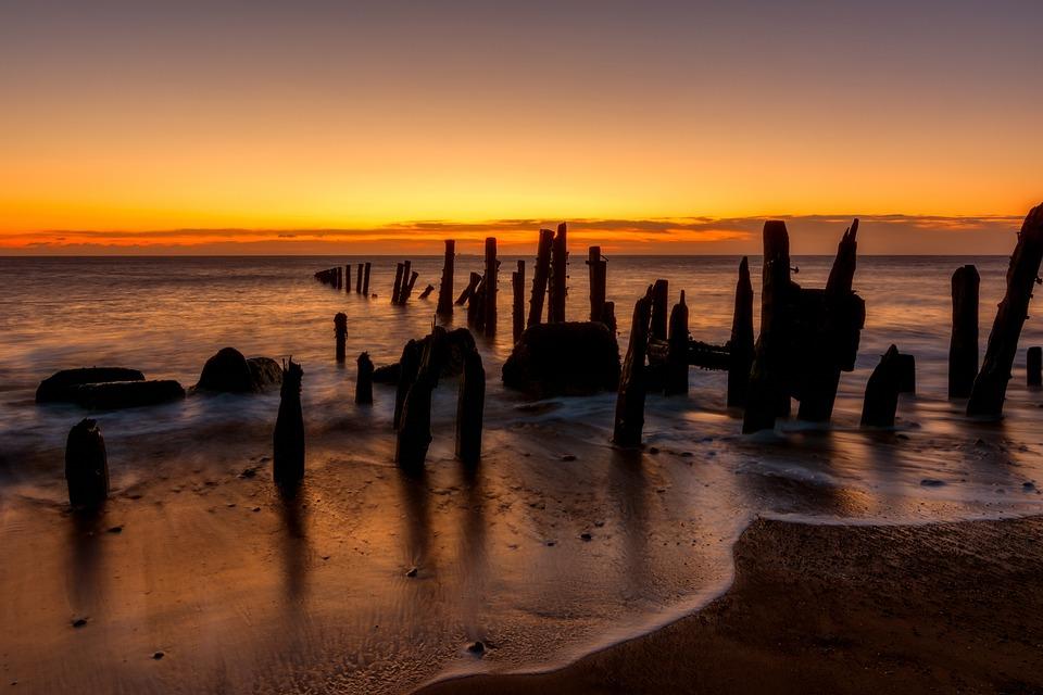 Beach, Sunset, Wooden Poles, Waves, Ocean, Sunrise