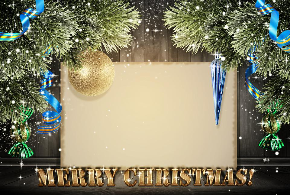 christmas new year postcard background wooden