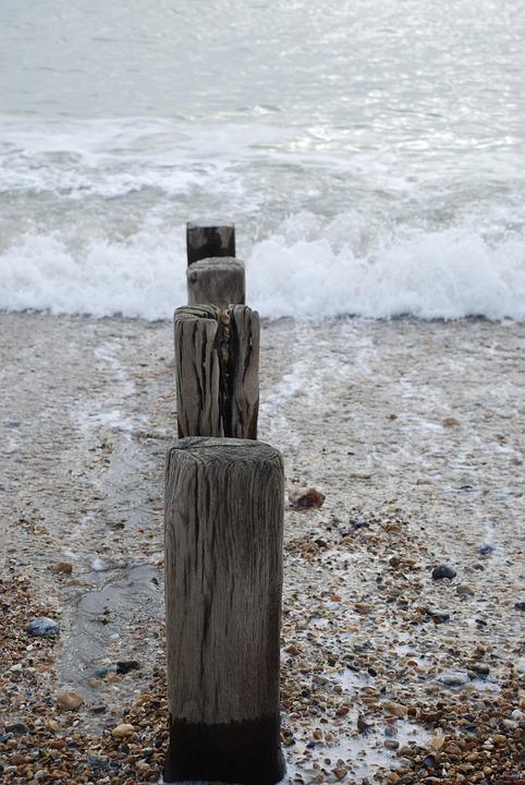 Beach, Pebbles, Seaside, Shore, Wooden Posts, Waves