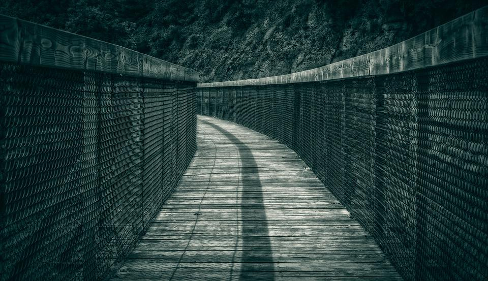 Away, Web, Night, Curve, Crooked, Bridge, Wooden Track