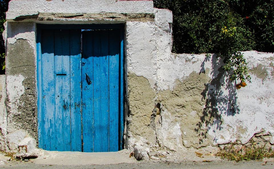 Garden Door, Wooden, Blue, Entrance, House, Traditional