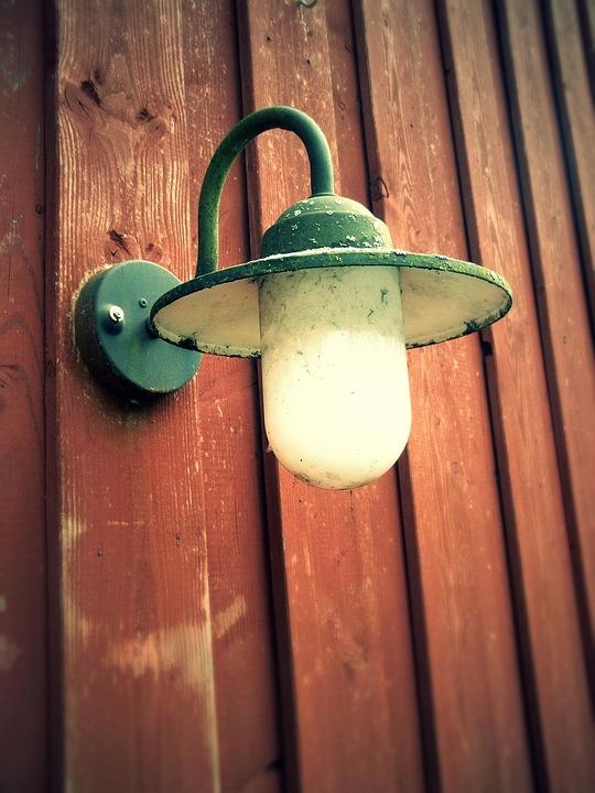 Lamp, Wooden Wall, Lantern, Light, Lighting, Vintage