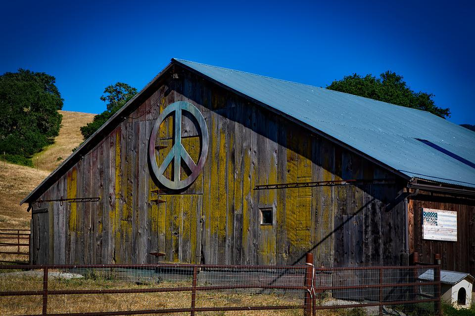 Peace Sign, Barn, Wooden, Farm, Weathered, Country