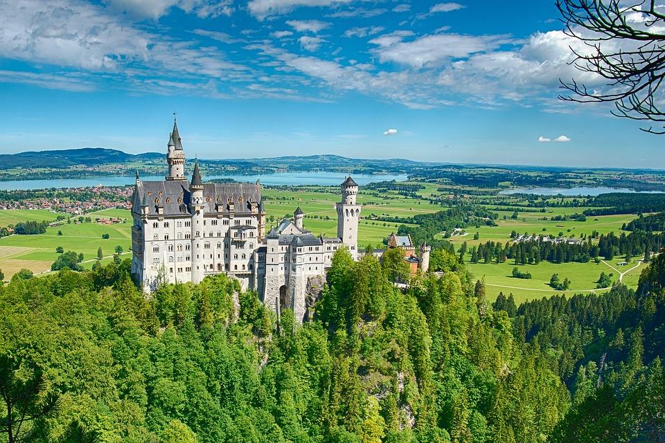 Neuschwanstein Castle, Castle, Hill, Trees, Woods, Sky