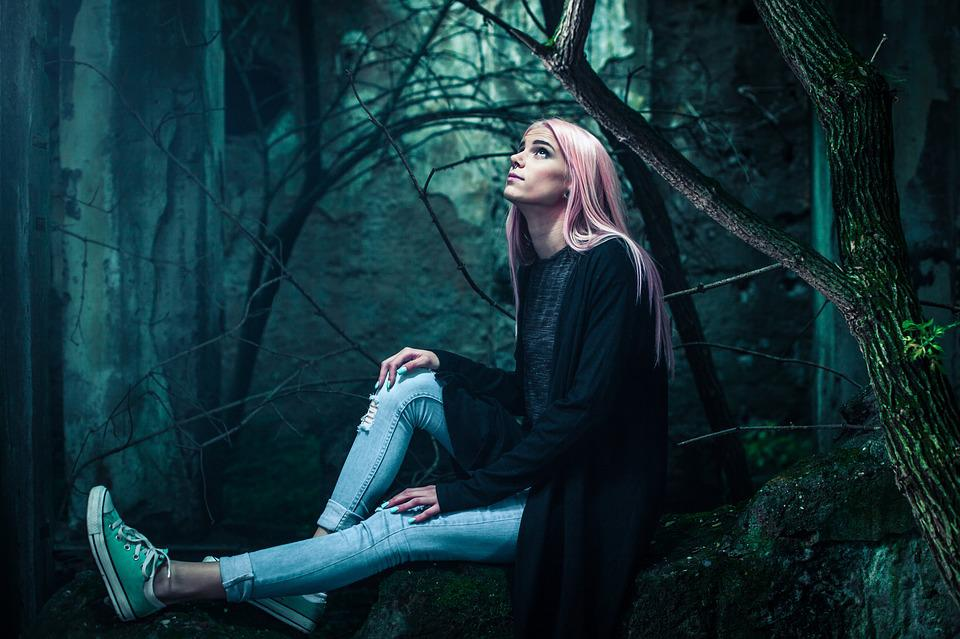 Young Woman, Portrait, Woods, Fashion, Hairstyle, Style