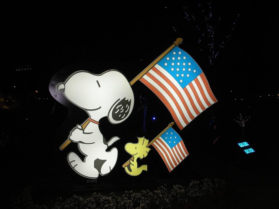 Snoopy, Woodstock, American Flag, Patriotic, Patriotism