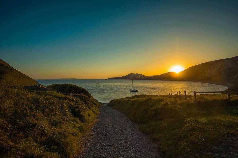 Sun, Ocean, Dorset, Worbarrow Bay, Dorset Bay, Sunset