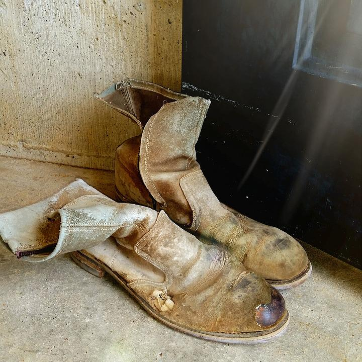 Old Boots, Vintage, Leather, Work Boots, Country