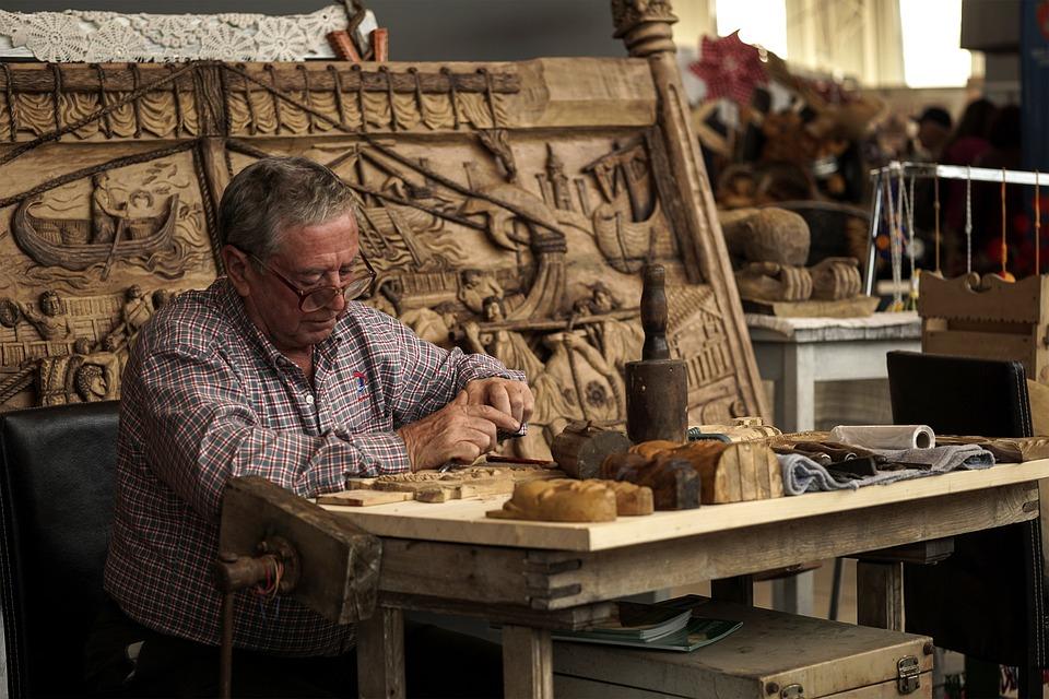 Sculptor, Work, Manual, Chisel, Wood, Dry, Art