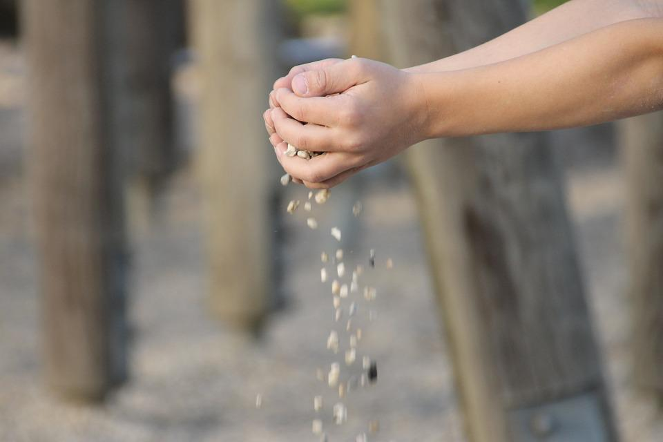 Hand, Stones, Trickle, Play, Work, Sand, Keep, Hands
