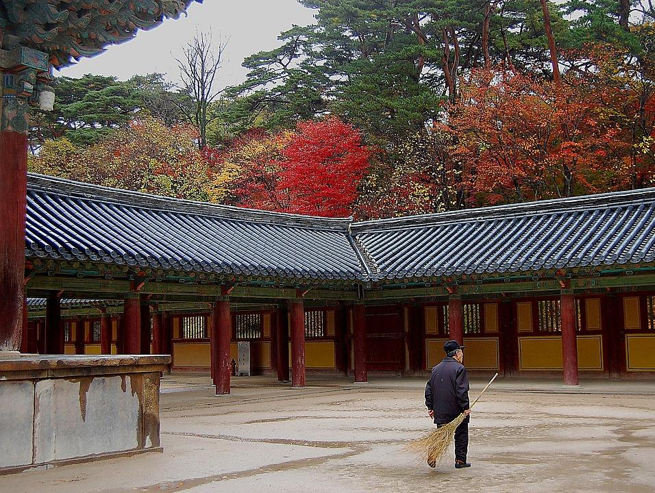 South Korea, Temple, Religion, Faith, Man, Worker, Fall