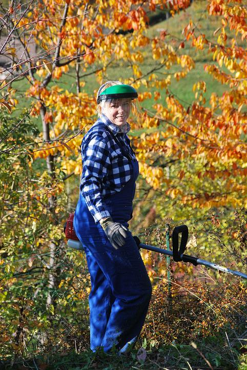 Woman, Working, Garden, Leaves, Autumn