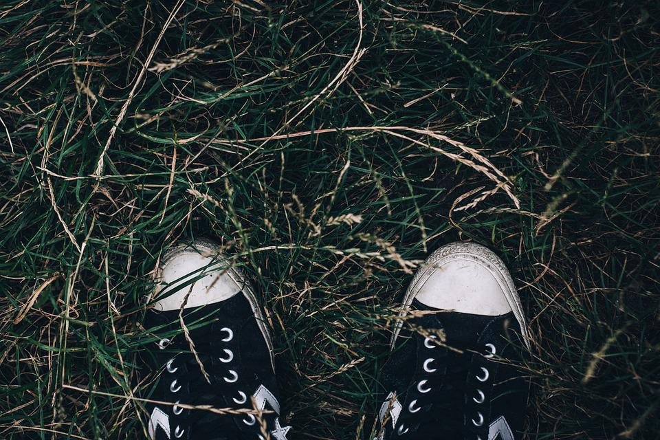 Dirty, Nature, Grass, Outdoors, Footwear, Worn, Pair