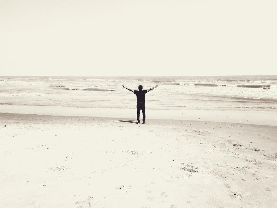 Beach, Worship, Praise, Male, Silhouette, Day