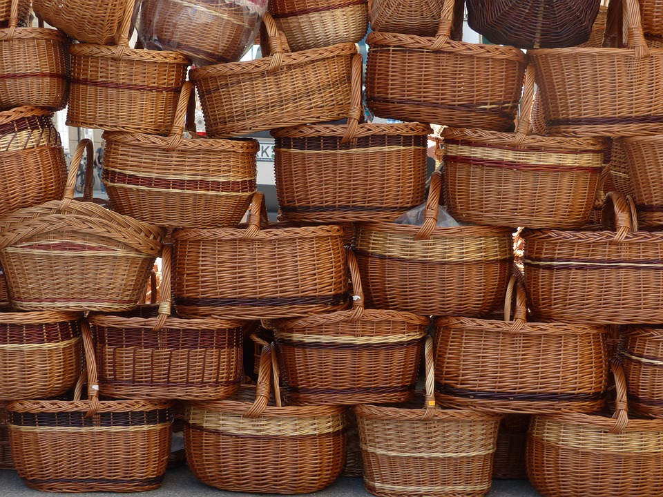 Baskets, Carry Cot, Shopping Basket, Woven, Wicker