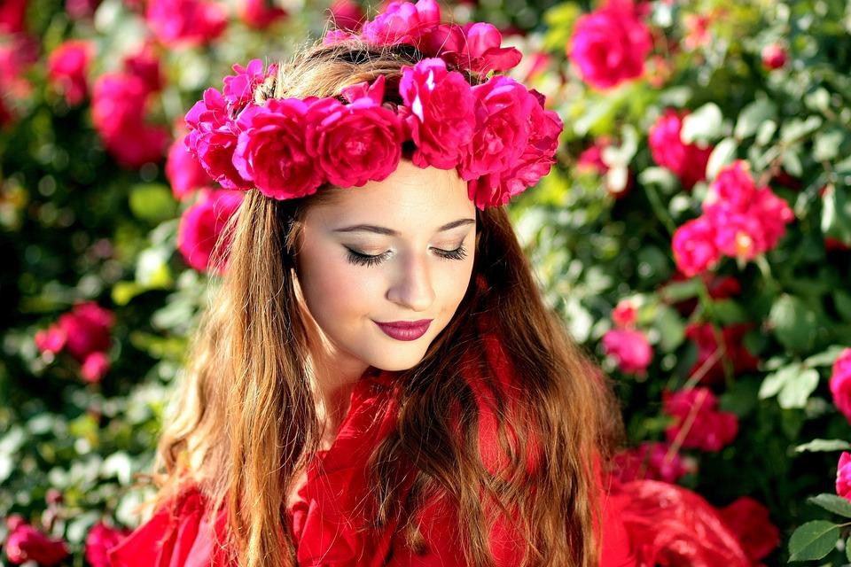 Woman, Roses, Flowers, Wreath, Beauty, Model, Floral