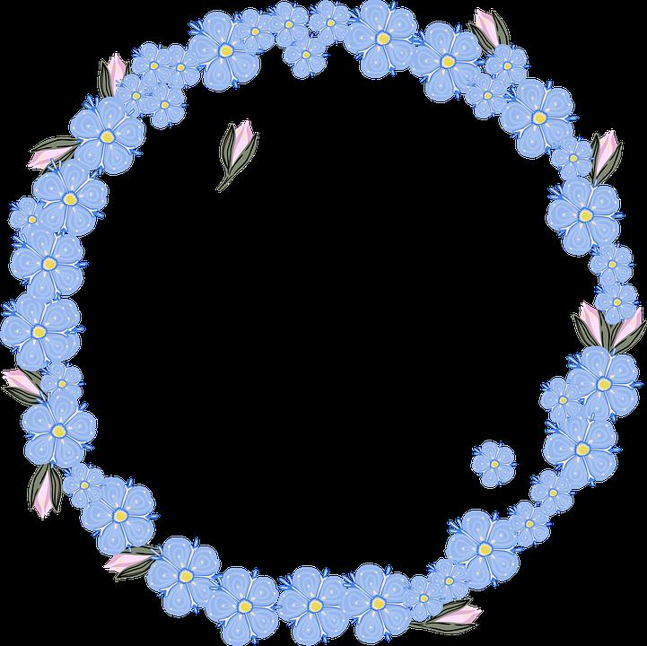 Border, Wreath, Forget-me-nots, Flowers, Blue Flowers