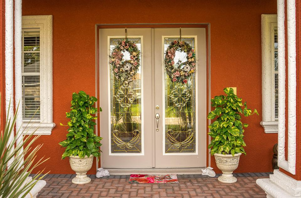 Doorway, Wreaths, Trees, Door, Entrance, Front, Home