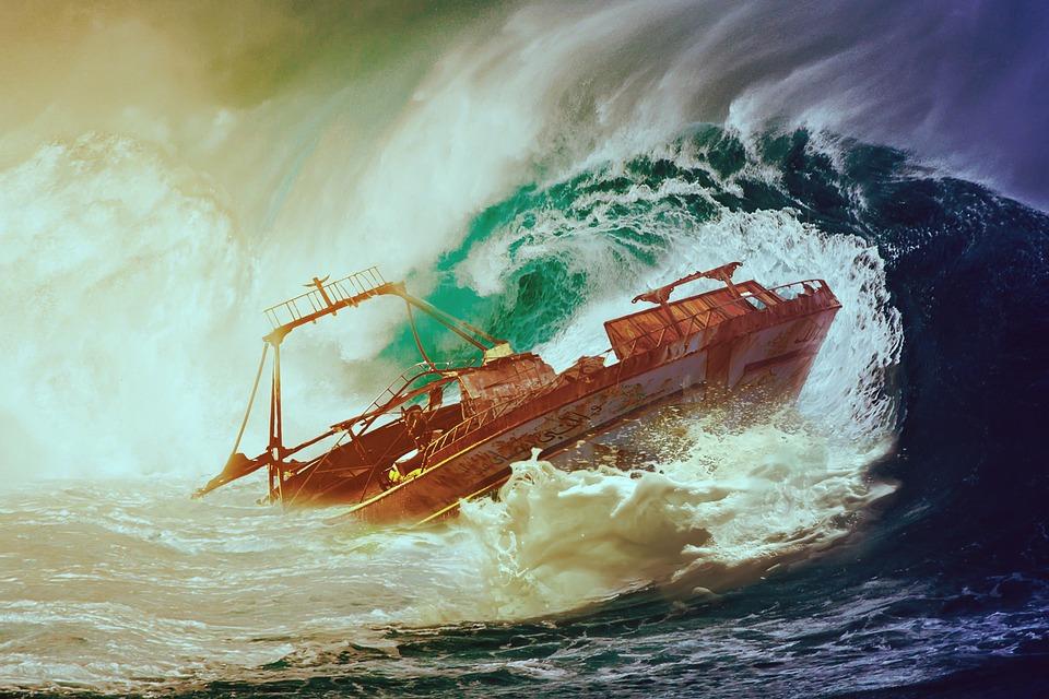 Wave, Boot, Sea, Water, Ship, Wreck, Lake, Capsize