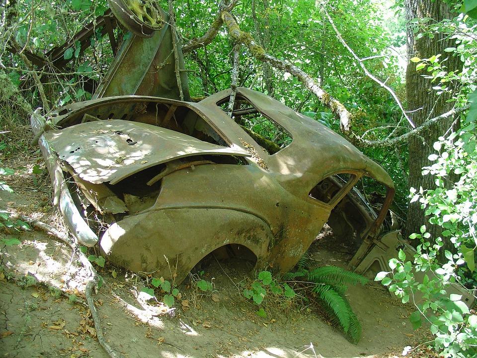 Car Wreck, Wreck, Car, Abandoned, Vehicle, Crash