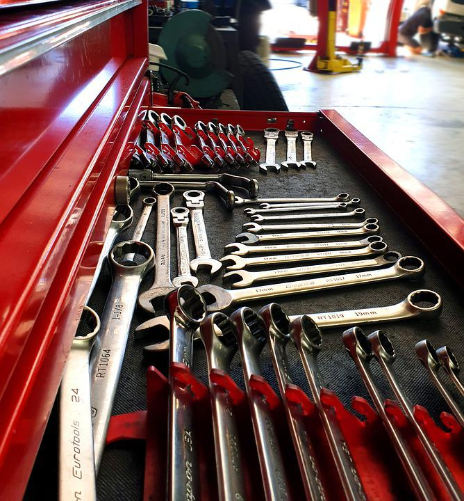 Mechanic, Garage, Workshop, Tools, Wrench, Nuts, Bolts