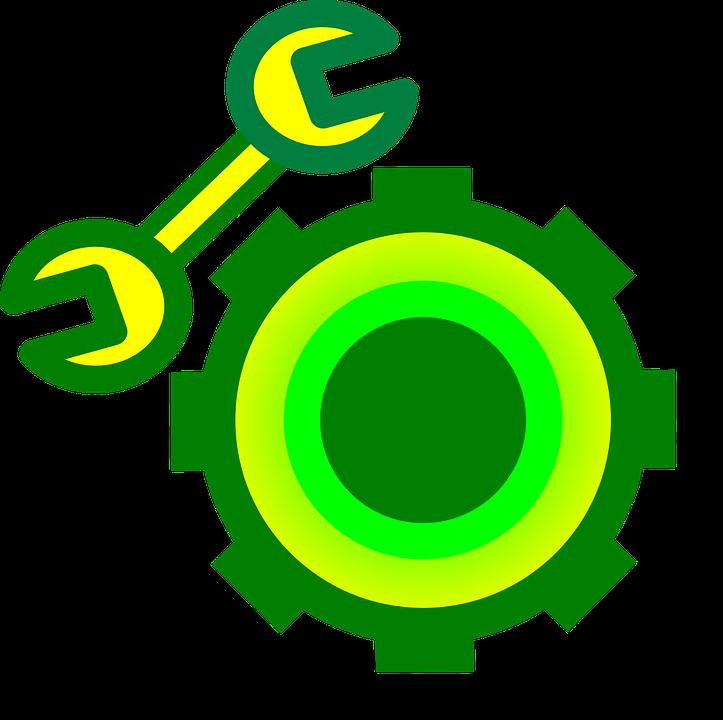 Gear Wheel, Wrench, Symbol, Icon, Design, Service