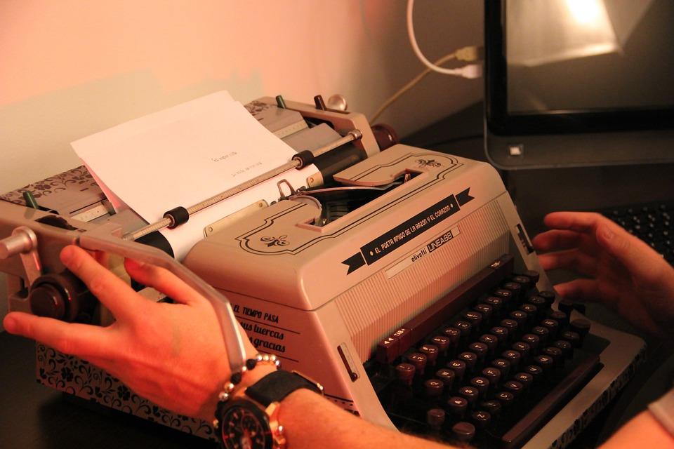 Writer, Typewriter, Hands, Typing, Paper, Text