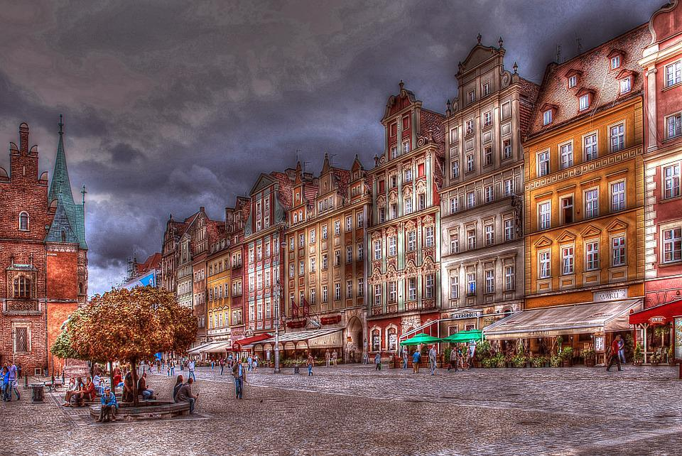 Wrocław, Architecture, Townhouses, Colored Townhouses