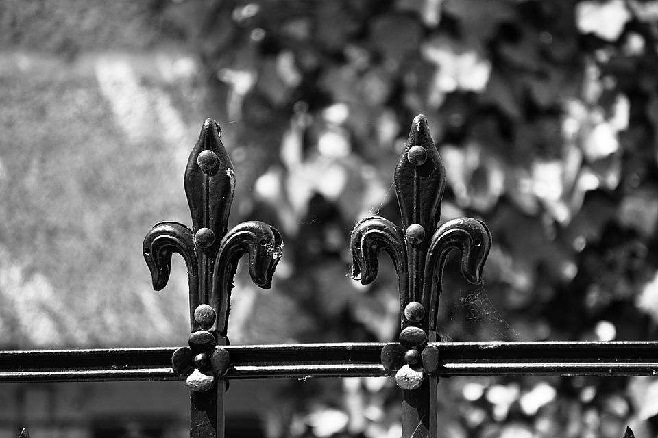 Wrought Iron, Fleur De Lis, Metal, Black And White