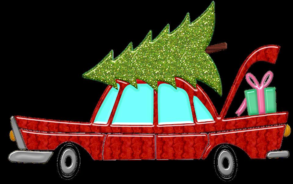 Christmas Car, Tree, Gift, Vintage, Advent, Auto, Xmas